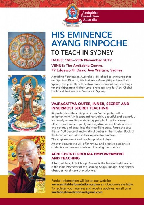 Vajrasattva outer, inner, secret and innermost secret & Achi Chokyi Drolma teachings. Sydney, Australia